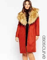 Asos Midi Coat with Faux Fur Collar