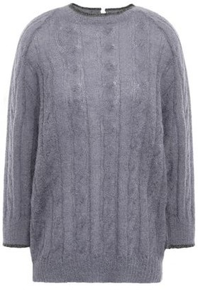 Brunello Cucinelli Bead-embellished Cable-knit Mohair-blend Sweater