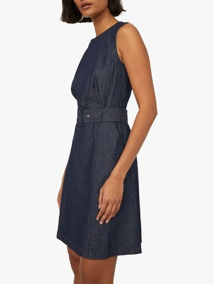 Warehouse Belted Denim Swing Dress, Dark Blue