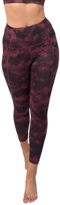 90 Degree By Reflex Lux Printed High Rise Side Pocket Ankle Leggings