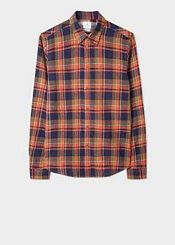 Men's Tailored-Fit Navy And Orange Check Cotton-Linen Shirt