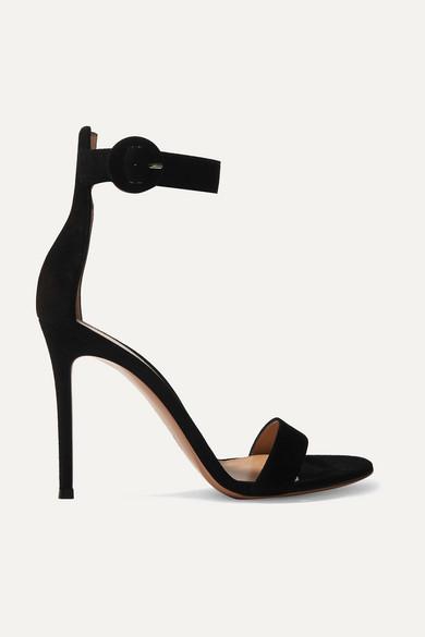 Gianvito Rossi Portofino 105 Suede Sandals - Black