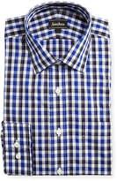 Neiman Marcus Classic-Fit Regular-Finish Plaid-Print Dress Shirt, Blue