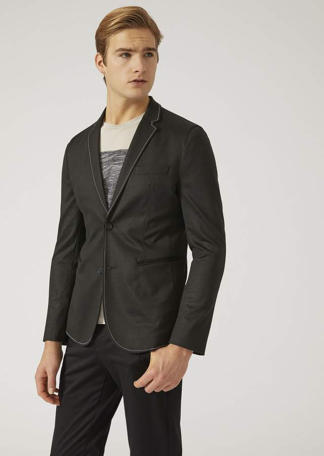 Emporio Armani Half-Lined Jacket In Stretch Jersey