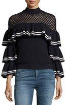 Self-Portrait Striped Frill Long-Sleeve Rib-Knit Wool Sweater