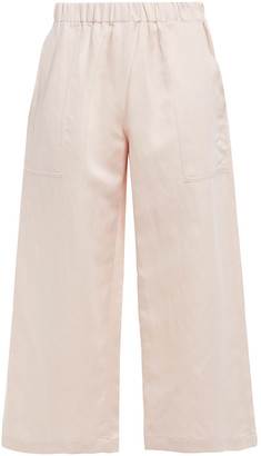 Vanessa Bruno Cropped Linen And Cotton-blend Wide-leg Pants