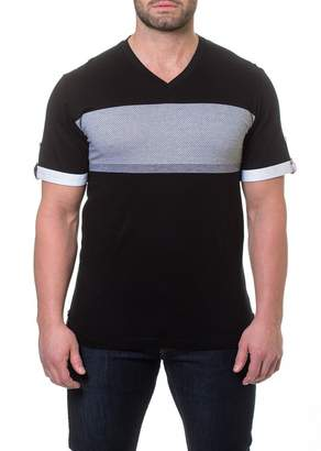 Maceoo V-Neck Thick Stripe T-Shirt