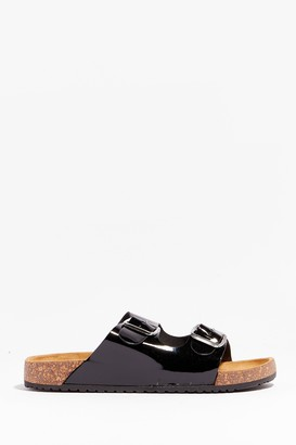 Nasty Gal Womens You're in Buckle Patent Faux Leather Sandals - Black