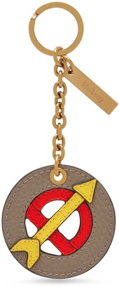 Mulberry Zodiac Keyring - Sagittarius Solid Grey and Coral Red