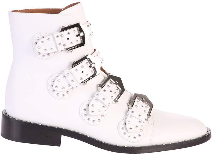 Givenchy White Ankle Boots With Studs Inserts