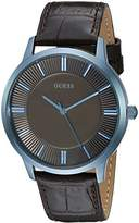 GUESS Men's U0664G3 Dressy Watch with Plain Brown Dial and Genuine Leather Strap Buckle