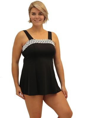 Fit 4 U Fit 4 Ur Ds and Es Square Neck Swim Dress - Plus