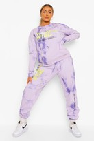 Thumbnail for your product : boohoo Plus Acid Tie Dye Worldwide Joggers