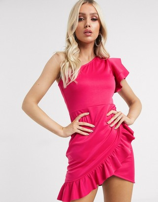 Laced in Love one shoulder ruffle mini dress in hot pink