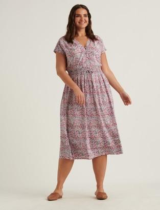 Floral Vneck Midi Dress