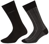 Hugo Boss Boss Fine Stripe Plain Socks, Pack Of 2, Black