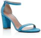 Stuart Weitzman Nearlynude Ankle Strap Block Heel Sandals