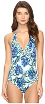 Tommy Bahama Fronds Floating Twist-Front Halter One-Piece Swimsuit