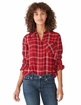 Lucky Brand Women's Long Sleeve Button Up One Pocket Lurex Plaid Shirt