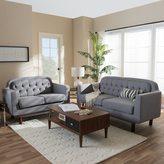 Baxton Studio Delphinia Mid-Century Modern Grey Tufted Living Room Sofa Set