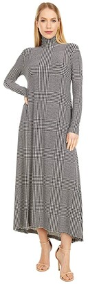 KAMALIKULTURE by Norma Kamali Long Sleeve Turtle Long Swing Dress (Glenn Plaid) Women's Dress