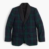 J.Crew Boys' shawl-collar tuxedo jacket in Black Watch English wool