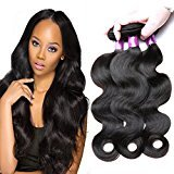 BP B&P 100% Virgin Indian Human Hair Extensions BODY WAVE 3-Pack Bundle, 300g Total (100g each) Unprocessed Virgin Human Hair Weave Weft Mixed Length Natural Color Tangle-free (10 12 14inches)