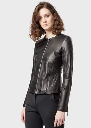 Emporio Armani Glove-Like Lamb Nappa Leather Jacket With Satin Trim