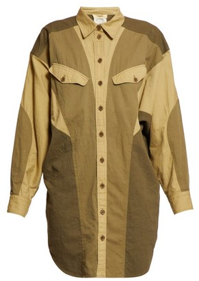 Etoile Isabel Marant Goya Patchwork Cotton Shirtdress - Womens - Khaki