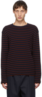 Dries Van Noten Burgundy and Navy Ribbed Sweater