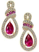 Macy's Certified Ruby (1-1/3 ct. t.w.) and Diamond (1/4 ct. t.w.) Drop Earrings in 14k Gold