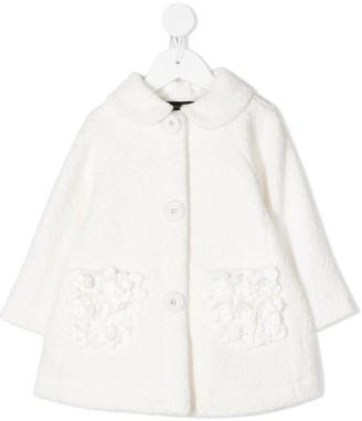 MonnaLisa Textured Coat With Floral Embellished Pockets