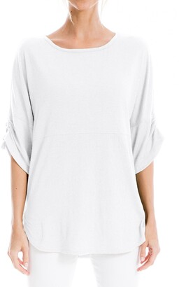 Max Studio Ruched Sleeve Crew Neck T-Shirt