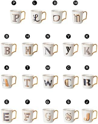 Goodnight Macaroon 'Rue' Monogram Gold Handle Mug