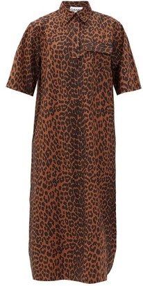 Ganni Leopard-print Cotton-poplin Shirt Dress - Leopard