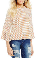 Living Doll Striped Ruffle Dolman-Sleeve Skimmer Top