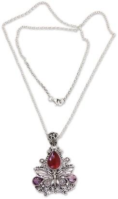 Novica Handmade Carnelian Amethyst 'Lady Butterfly' Pendant Necklace
