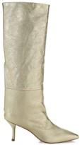 Stuart Weitzman Magda Mid-Calf Metallic Leather Boots