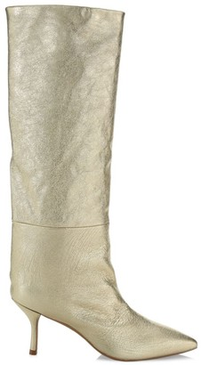Stuart Weitzman Magda Mid-Calf Metallic Leather Boots