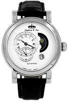 Lindberg & Sons Men's Automatic Watch with White Dial Analogue Display and Black Leather Strap HQ22239W