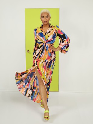 New York & Co. Twist-Front Maxi Shirtdress
