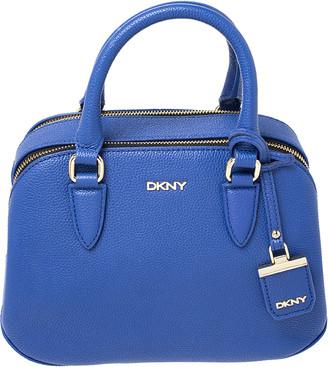 DKNY Blue Leather Double Zip Satchel