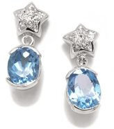 Tatitoto Gioie Women's Earrings in 18k Gold with Blue Topaz and Diamond H/SI (total diamonds 0.04 ct), 5.4 Grams