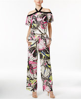 INC International Concepts Petite Butterfly-Print Halter Jumpsuit, Only At Macy's