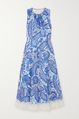Andrew Gn Lace-trimmed Floral-print Cotton-poplin Dress - Blue