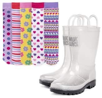 Muk Luks Molly Toddler & Youth Rain Boot & Sock Set