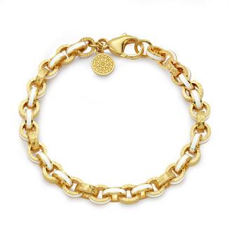 BUDDHA MAMA 20k White Enamel Link Bracelet