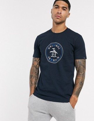 Original Penguin multi flock stamp logo t-shirt in navy