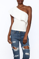 Lush White One Shoulder Top