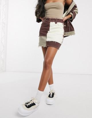 Jaded London mini skirt in denim patchwork